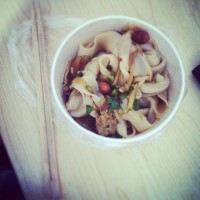 Chinese noodles for breakfast! yum!