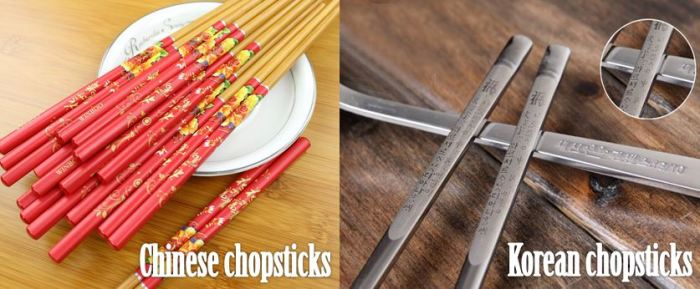 Chinese vs. Korean Chopsticks